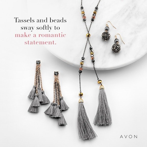 Soft swinging grey tassels offer a romantic touch